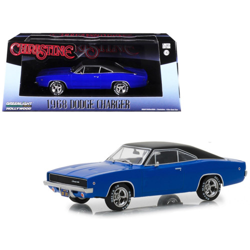 1968 Dodge Charger (Dennis Guilder's) Blue with Black Top Christine (1983) Movie 1/43 Diecast Model Car by Greenlight 86531