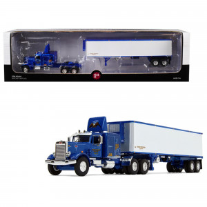 Peterbilt 351 63' Sleeper Cab with 40' Vintage Trailer Western Distributing Blue and White 1/64 Diecast Model by First Gear 60-0439