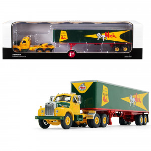 Mack B-61 Day Cab with 40' Vintage Trailer Built Like a Mack Yellow and Green 1/64 Diecast Model by First Gear 60-0444