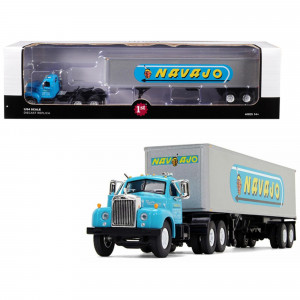 Mack B-61 Day Cab with 40' Vintage Trailer Navajo Turquoise and Silver 1/64 Diecast Model by First Gear 60-0445