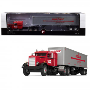 Peterbilt 351 36 Sleeper Cab with 40' Vintage Trailer West Coast Fast Freight Red and Gray 24th in a Fallen Flags Series 1/64 Diecast Model by First Gear 60-0491