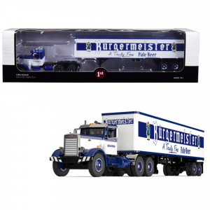 Peterbilt 351 Day Cab with 40' Vintage Trailer Burgermeister Blue and White 25th in a Fallen Flags Series 1/64 Diecast Model by First Gear 60-0492