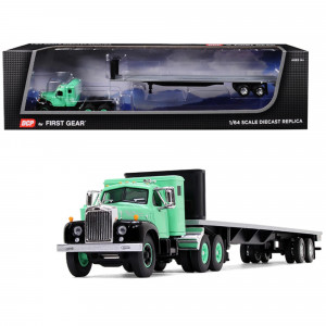 Mack B-61 with Sleeper Cab and 48' Flatbed Trailer Antique Green 1/64 Diecast Model by DCP/First Gear 60-0516