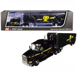 Peterbilt Model 579 with 72 Mid-Roof Sleeper Cab and 53' Utility Roll Tarp Spread-Axle Trailer TanTara Transportation Corp. Black 1/64 Diecast Model by DCP/First Gear 60-0479