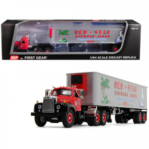 Mack B-61 Day Cab with 40' Vintage Reefer Refrigerated Trailer Red Star Express Lines 28th in a Fallen Flag Series 1/64 Diecast Model by DCP/First Gear 60-0571