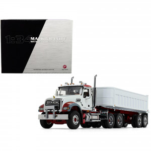 Mack Granite MP with End Dump Trailer White 1/34 Diecast Model by First Gear 10-4186