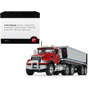Mack Granite with Round End Dump Trailer Red and Chrome 1/34 Diecast Model by First Gear 10-4181