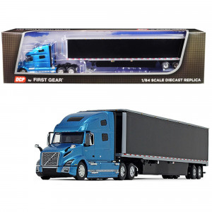 Volvo VNL 760 High-Roof Sleeper Cab with 53' Dry Goods Trailer and Skirts Sky Blue Metallic and Black 1/64 Diecast Model by DCP/First Gear 60-0644