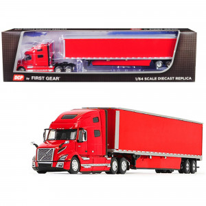 Volvo VNL 760 High-Roof Sleeper Cab with 53' Dry Goods Trailer and Skirts Viper Red 1/64 Diecast Model by DCP/First Gear 60-0646