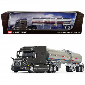 Volvo VNL 740 Mid-Roof Sleeper Cab Urban Bronze Metallic with Brenner Food-Grade Chrome Tank Trailer 1/64 Diecast Model by DCP/First Gear 60-0642