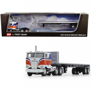 Peterbilt 352 COE with 86 Sleeper Cab with Utility Flatbed Trailer with Bulkhead Orange 1/64 Diecast Model by DCP/First Gear 60-0715