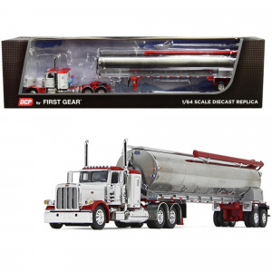 Peterbilt 389 36 Flattop Sleeper Cab with Walinga Tandem-Axle Bulk Feed Trailer White and Chrome 1/64 Diecast Model by DCP/First Gear 60-0724