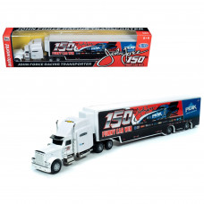 2019 Freightliner with Trailer John Force 150th Funny Car Win Transporter 1/64 Diecast Model by Autoworld AWSP031