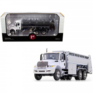 International DuraStar Liquid Fuel Tank Truck White and Chrome 1/50 Diecast Model by First Gear 50-3434