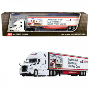 2018 Freightliner Cascadia High-Roof Sleeper Cab with 53' Utility Trailer with Side Skirts Load One, LLC. 1/64 Diecast Model by DCP/First Gear 60-0587