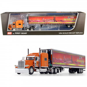 Peterbilt 389 70 Mid-Roof Sleeper Cab Tractor Truck with 53' Utility Reefer Refrigerated Trailer Scotlynn Group Orange 1/64 Diecast Model by DCP/First Gear 60-0705