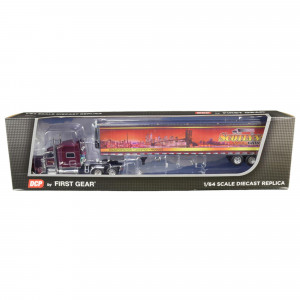 Peterbilt 389 70 Mid-Roof Sleeper Cab Tractor Truck with 53' Utility Reefer Refrigerated Trailer Scotlynn Group Garnet Red Metallic 1/64 Diecast Model by DCP/First Gear 60-0706