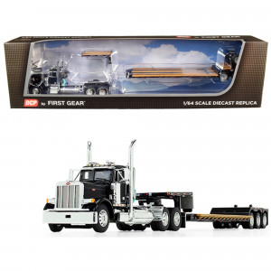 Peterbilt 379 Day Cab Tractor Truck with Fontaine Renegade Extendable Lowboy Trailer with Flip Axle Black 1/64 Diecast Model by DCP/First Gear 60-0721