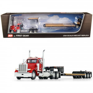 Peterbilt 379 Day Cab Tractor Truck with Fontaine Renegade Extendable Lowboy Trailer with Flip Axle Red and Black 1/64 Diecast Model by DCP/First Gear 60-0722