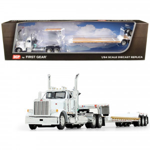 Peterbilt 379 Day Cab Tractor Truck with Fontaine Renegade Extendable Lowboy Trailer with Flip Axle White 1/64 Diecast Model by DCP/First Gear 60-0723