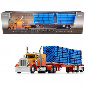 Peterbilt 359 63 Sleeper Cab with Wilson Roadbrute Spread-Axle Trailer with 6 Blue Pipe Loads Kelsey's Trucking Sunrise Express 1st in a Big Rigs Series 1/64 Diecast Model by DCP 69-0700