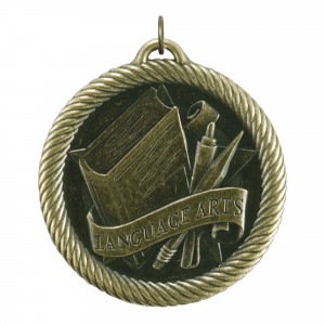 Hammond & Stephens Multi-Level Dovetail/Language Arts Value Medal, 2 in, Solid Die Cast, Gold