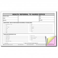 Hammond & Stephens 3 Parts Carbonless Nurse/Office Referral Form, 5 X 8 Inches, Pink, Canary, White, Pack of 100
