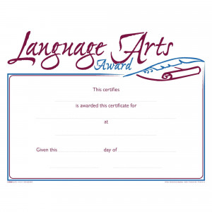 Hammond & Stephens Raised Print Language Arts Recognition Award, 11 x 8-1/2 inches, Pack of 25