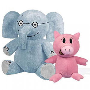 "YOTTOY Mo Willems Collection | Pair of Elephant & Piggie Soft Stuffed Animal Plush Toys - 7"" & 5"" Sitting"