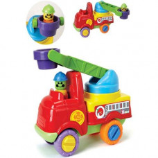 Fire Engine With Turning Ladder And Firefighters