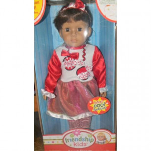 KINGSTSTATE THE DOLLCRAFTER 18 FRIENDSHIP KIDS FASHION DOLL IN RED && WHITE POLKA DOT OUTFIT SET - SO CUTE (BROWN HAIR)