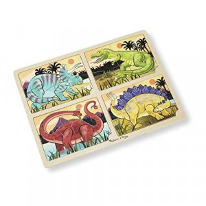 Melissa & Doug Dinosaurs 4-in-1 Wooden Jigsaw Puzzles With Storage Tray (16 pcs)