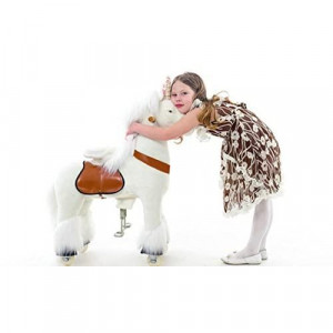Smart Gear Pony Cycle White Unicorn Ride on Toy 2 Sizes Worlds First Simulated Riding Toy for Kids Age 3-5 Years Ponycycle Ride-on Small