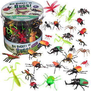 Toy Bug Action Figure Set - 30 Piece Playset 15 Unique Sculpts- Giant Insects Educational Toy Playset (Ants Tarantula Spiders)