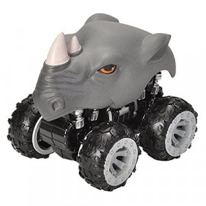 Wild Republic Rhino, Push Action Motor Vehicle, gifts for Kids, Imaginative Play, Motor Headz 5 Inches