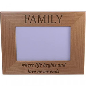 Family Where life begins and love never ends - Wood Picture Frame Holds 4x6 Inch Photo - Great Gift for Mothers's Father's Day BirthdayValentines Day Anniversary or Christmas Gift
