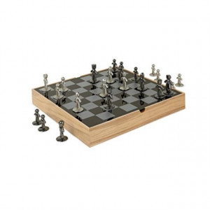 Umbra Buddy Chess Set For Kids & Adults - Modern Original Chessboard Game Made of Metal With Nickel & Titanium Finish - Measures 13 x 13 by 1 Inch (33 x 33 x 3.8 cm) - Velvet Bottom for Easy Moving