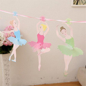 TQ 10Pcs/Pack Baby Shower Ballet Girls Paper Flags Banner 3Meters Decor Birthday Party Supplies for Kids