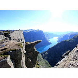 Adult Jigsaw Puzzle Trolltunga Rock Mountain View Scenic Cliffs Norway 500-Pieces