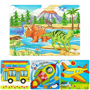 4-Pack Dinosaur Puzzles for Kids Ages 3-8 60 Piece Kids Puzzles Preschool Puzzles Educational Learning Toys for Toddlers Wooden Jigsaw Puzzles - Dinosaur, Airplane, Bus and Rocket