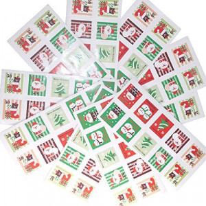 Merry Christmas Holiday Stamps Creative Sticker Assortment 100 Stickers - Best Gift for Kids! Santa Christmas Tree Snowman and Christmas Stocking ( 10 Sheets)