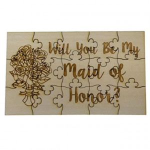 Will You Be My Maid of Honor 15 Piece Basswood Jigsaw Puzzle - Wedding Bridal Party