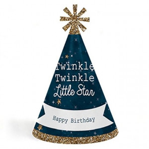 Twinkle Twinkle Little Star - Cone Happy Birthday Party Hats for Kids and Adults - Set of 8 (Standard Size)