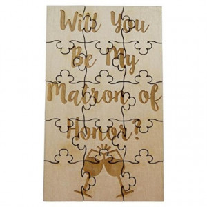 Will You Be My Matron of Honor - 15 Piece Basswood Jigsaw Puzzle - Wedding Bridal Party Proposal