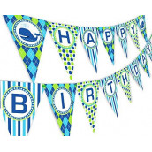 Whale Party Happy Birthday Banner Pennant - Preppy Whale Decorations