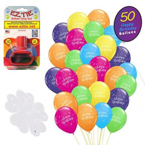 """QP Latex Happy Birthday 12"""" Balloons (50 Pack). w/Balloon Tying Tool and 5 Flower Clips Accessory - Party Supplies"""