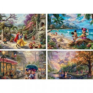 Ceaco Thomas Kinkade The Disney Collection 4 in 1 Multipack Snow White Mickey & Minnie Mouse Pocahontas Jigsaw Puzzles (4) 500 Pieces