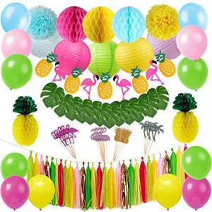 Tropical Pink Flamingo Luau Hawaiian Party Decorations Kit Tropical Leaves Flamingo Banner Honeycomb Pineapple Ball for Jungle Beach Pool Moana Theme Summer Birthday Baby Shower Party Supplies