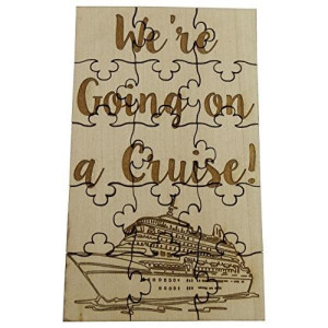 """We're Going On A Cruise - 15 Piece Basswood Jigsaw Puzzle 6"""" x 3.5"""" Surprise Vacation Reveal"""