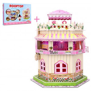 3D Puzzle Dollhouse for Kids Girls Jigsaw Puzzles Doll House Building Kit - Educational Paper Craft Toys Game Xmas Birthday Gifts Easy to Assemble Miniature Houses with LED Light - 101 Pieces